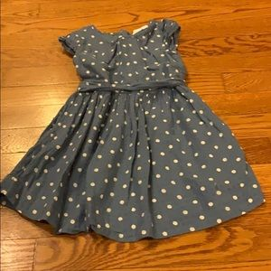 Blue polka dot dress with bow by gap! Size xs